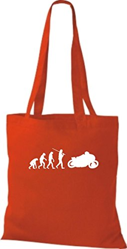 Shirtinstyle Borsa Di Stoffa Jute Evolution Moto Biking Stunt Freebike Biker Colore Rosso Brillante