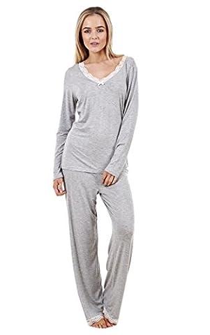 Superbe ensemble pyjama femme très doux, manches longues et dentelle, vêtements de nuit pour femme Gris 48