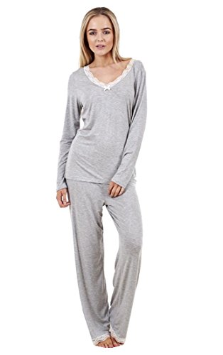 ladies gorgeous soft pyjama set long sleeve pj's womens lace nightwear - 31fdQ9aj1cL - Ladies Gorgeous Soft Pyjama Set Long Sleeve PJ'S Womens Lace Nightwear