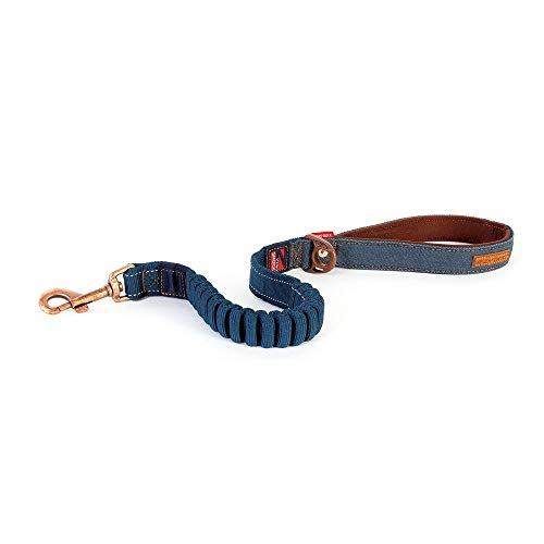 EzyDog Premium Hundeleine für Große Hunde - Zero Shock Leine für Hunde - 64cm, 128cm - Reflektierende für Maximale Sicherheit - Elastische Leine mit Bungee Ruckdämpfer (64cm, Denim) -