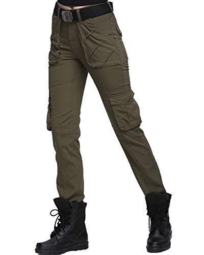 UR MAX BEAUTY Frauen Baumwoll Multi-Taschen Arbeitshosen Tactical Outdoor-Militärarmee-Cargohose,Grün,22