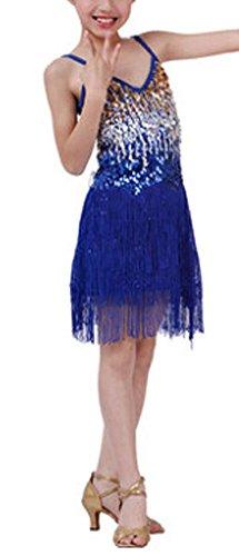 Kostüme Stars Dance ([Star] Blau Mode Latin Dance Kostüme Mädchen Latein Kostüm Leistung)