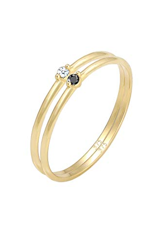 Elli PREMIUM Ring Damen Solitär Schwarzer Weißer mit Diamant (0.04 ct.) 375 Gelbgold