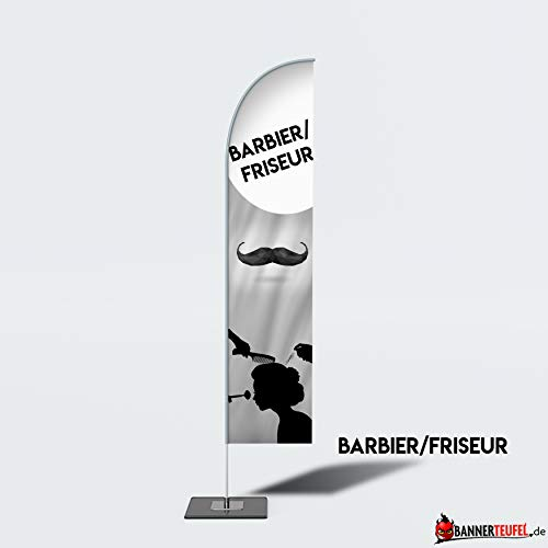 Bannerteufel Beachflag Friseur Barbier Hair Cut Aufsteller Neueröffnung Außenschild Neueröffnung Werbung Messestand Fahne Kundenstopper DIY Winddurchlässig in verschiedenen Größen, S (205 cm)