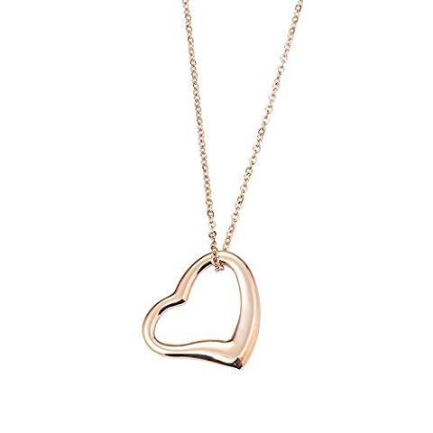 Bellamira 14K Rose Gold Open Heart Anhänger Halskette Schmuck für