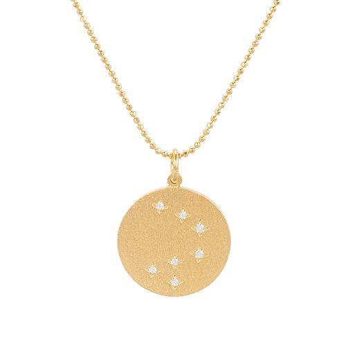 Pernille Corydon Damen Halskette Gold Harmony Runder Platte Kreis Anhänger 7 Glitzernde Zirkonia-Steine 925er Silber Vergoldet - N703g