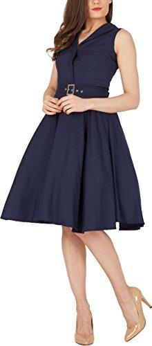 Black Butterfly 'Luna' Retro Clarity Kleid im 50er-Jahre-Stil (Nachtblau, EUR 44 - XL)
