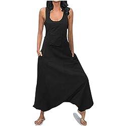 Combinaison Femme Ete,Femelles Solide U Cou sans Manches Poche Casual Coton Et Lin Bretelle Combinaisons(Black, L)
