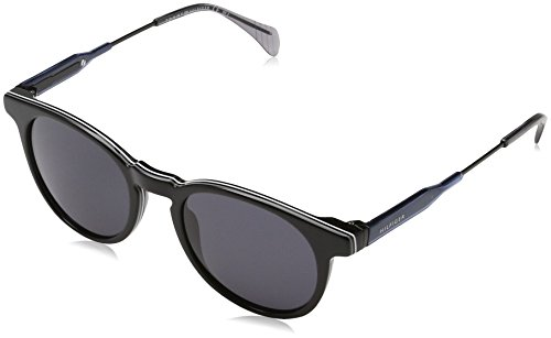 Tommy hilfiger th 1350/s ir 20d, occhiali da sole uomo, nero (black blue/grey blue), 49