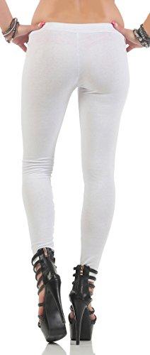 malito Leggings blickdicht Uni-Farben Freizeithose 1819 Damen Weiß