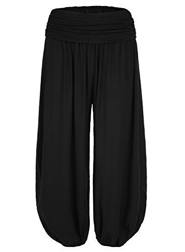 BAISHENGGT - Femme Pantalon bouffant large bande Imprimé Taille haute Stretch Noir L