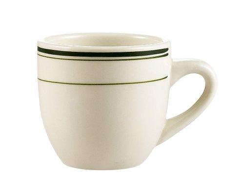 CAC Porzellanbecher aus Steingut, Weiß 2-1/2-Inch(3.5-Ounce) Green Band/American White; Creamy White; Off White Band Demitasse Cup