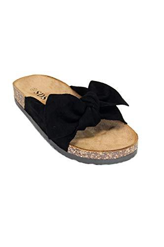 irisaa Bunte Pantoletten Sandalen mit Schleifen oder Blumen zum Sommer, Schuhgröße 36-41:40, 2019 Patoletten Farbe (1):Black New