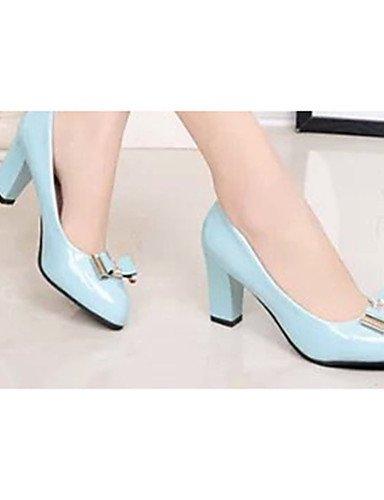 GS~LY Da donna-Tacchi-Casual-Tacchi-Quadrato-Vernice-Nero / Blu / Bianco blue-us6.5-7 / eu37 / uk4.5-5 / cn37
