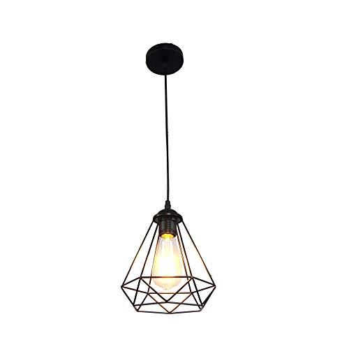 Iluminación Colgante Diamante para Techo Lampara Vintage Casquillo E27 220V 40W Luz del Hierro del Techo de Interior Foco para Cafeteria Bar Pub Restaurante,Color Negro