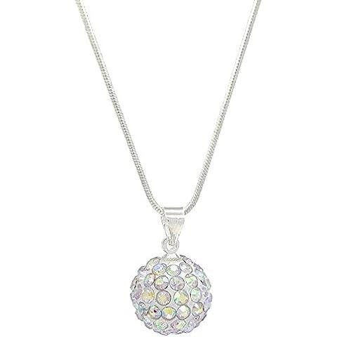 Shimla cristallo Aurora Borealis diamante ciondolo/collana a forma di pallina–12mm di diametro