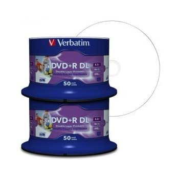 Verbatim DVD Double Couche DVD+R DL 8.5 Go / 240 min 8x, Full printable White No ID, 100 pièces en cloche