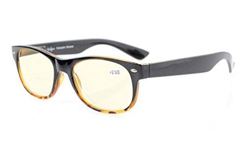 Eyekepper Federscharniere UV-Schutz, Blendschutz, Anti-Blau-Strahlen, Kratzfestes Objektiv Computer Lesebrillenleser (Gelb getönte Linsen, Schwarz-Gelb) +1.0