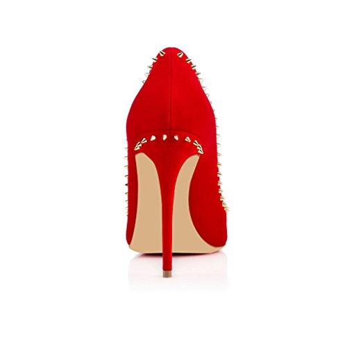 EDEFS Damen 100mm Stiletto Spitze Zehen Pumps Klassische Nieten Kleid Schuhe Rot