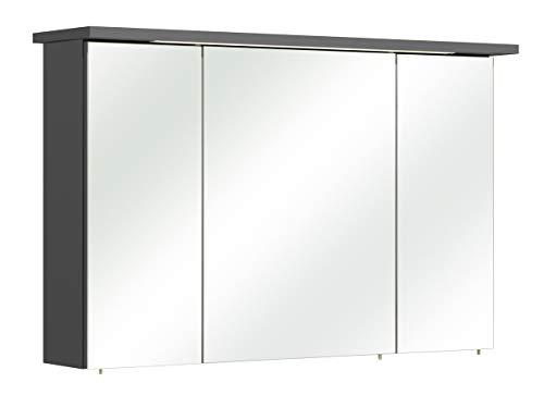PELIPAL - Velo/CESA III - 115 cm - Spiegelschrank, Kranz mit LED Beleuchtung, Anthrazit Dekor, EEK: A (Spektrum A - A)
