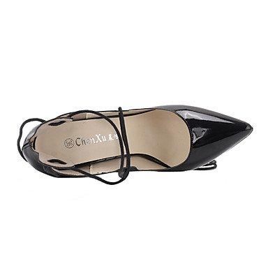 Moda Donna Sandali Sexy donna tacchi Autunno / Inverno cinturino alla caviglia brevetto matrimonio cuoio / Party & sera abito / Stiletto Heel Lace-up / Hollow-out nero / rosa Black