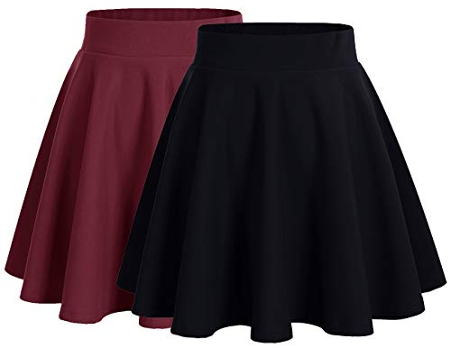Dresstells Damen Basic Solide Vielseitige Dehnbar Informell Mini Glocken Rock 2-Pakete(Black+Burgundy S