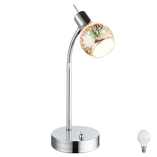 Glas Tisch Lampe (Tisch Lampe Glas Kugel Spot Wohnraum Lese Nachtlicht 3D-Effekt Strahler im Set inkl LED Leuchtmittel)