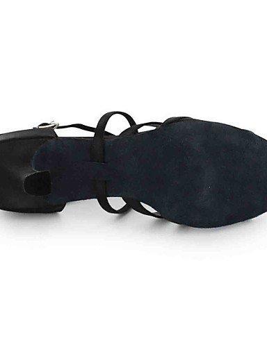 ShangYi Chaussures de danse(Noir) -Personnalisables-Talon Personnalisé-Similicuir-Latine Black