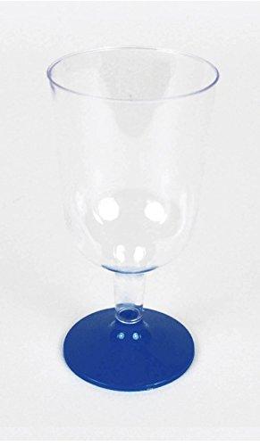 JMG S.R.L Weinkelch 180ml klar mit Fuß in blau 8 Stück