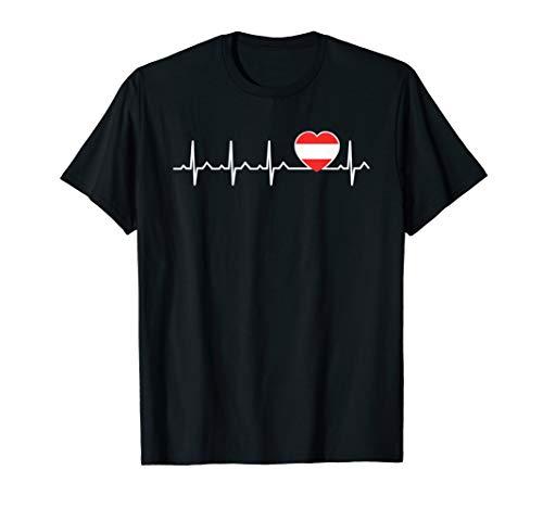 Herzschlag Herzlinie Herzfrequenz Österreich T-Shirt Austria