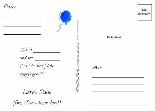 DeCoArt... 10 Wettflugkarten Ballonflugkarten Weitflugkarten Flugkarten zum Selbergestalten Vorderseite: leer/ Rückseite: Adressfelder und Gruß für den Rücksender (Zum Verkauf Ballon)
