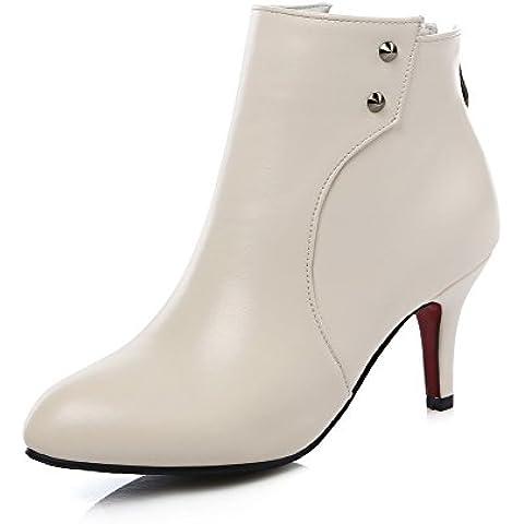 AmagooTer Donna Cerniera Scarpe A Punta Luccichio Alla Caviglia Stivali con Metallo