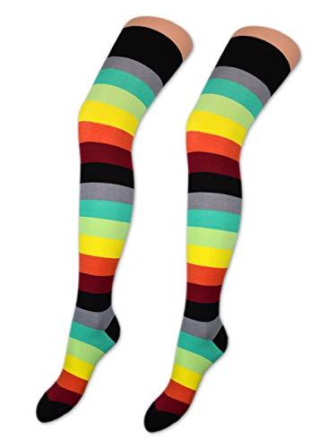 sockenkauf24 2 Paar Overknee Strümpfe Baumwolle Socken Overknees in vielen Farben & Mustern - Ringel & Uni - 10723 (35-38, 2 x Bunte Ringel)