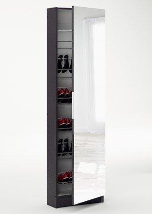 Schuhschrank 12 Paar Schuhe dunkelbraun ebenholz 1 Tür H 181 cm B 50 cm Spiegelschrank Schuhablage...