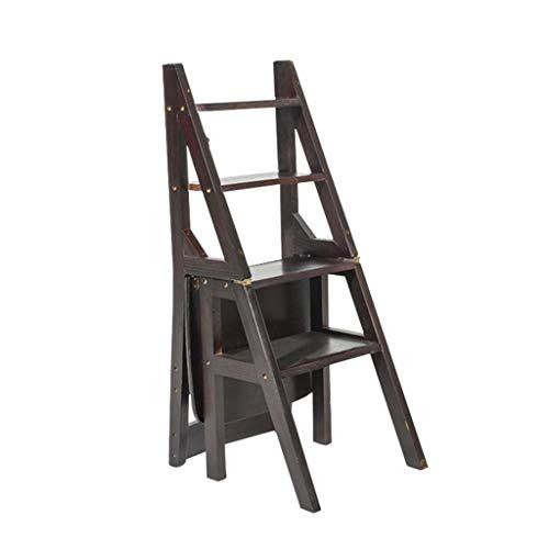 STEP STOOL Klappbarer Trittleiter, 4-stufiger Holzleiterhocker Rutschfestes Multifunktionsschlafzimmer Wohnzimmer 46 x 40 x 90 cm