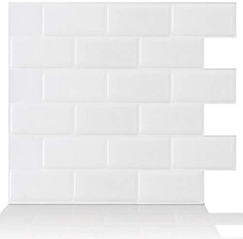 """Tic Tac Tiles Anti Mold schälen und stecken Wand-Fliese in U-Bahn-Entwurf 10 10\"""" x 10\"""" U-Bahn-Weiß"""