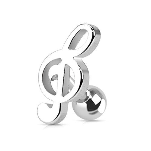 Kultpiercing - piercing trago/helix con chiave di basso, colore: argento