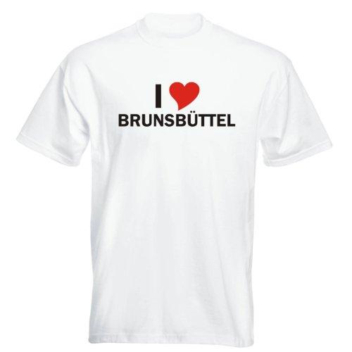 T-Shirt mit Städtenamen - i Love Brunsbüttel - Herren - unisex Weiß
