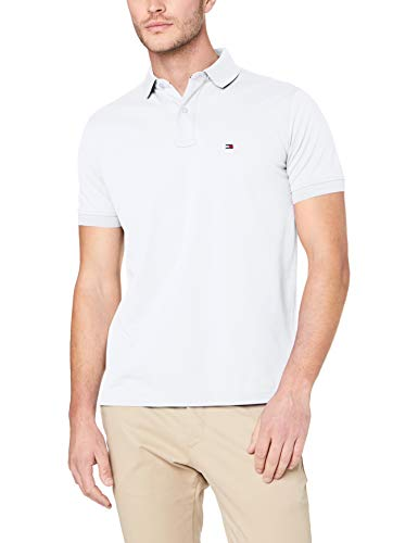 Tommy Hilfiger Herren CORE Tommy Regular Polo Poloshirt, Weiß (Bright White 100), Large (Hilfiger-pique-shirts Tommy)