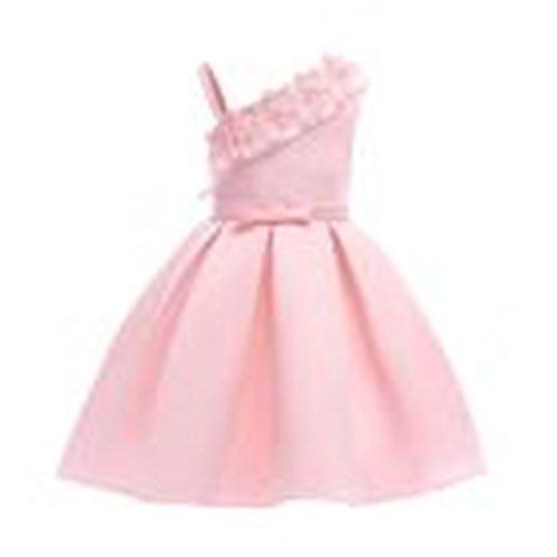 JYJM Süße SommerFloral Baby Mädchen Prinzessin Brautjungfer Festzug Kleid Geburtstag Party Hochzeitskleid trägerlosen Spitze Prinzessin Kleid Kleid Rock (140, Rosa)