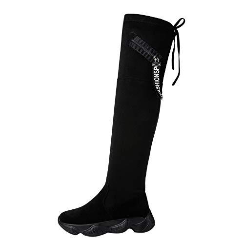 Innerternet_Chaussures Botte Cuissarde Femme Talon Haut Boots Plateforme Sexy Longue Chaude Hiver Genou Haut Plat Fond éPais Bottes Stretch Bottes Cuissardes