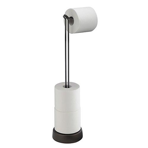 mDesign Portarrollos papel higiénico en acero inoxidable - Soporte para papel higiénico sin tornillos - Dispensador de papel sanitario para baño - Color: bronce - Se apoya junto al WC