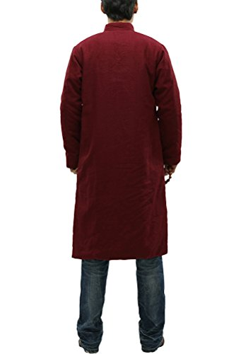 MatchLife Unisex Thicken Parka Frog-Button Mantel Style1-Rot