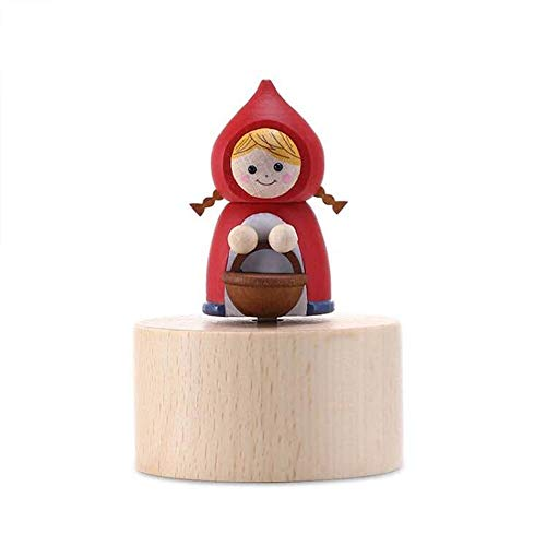 SDADHFRGE Small Animal Music Box Wooden Mini Octave Box to give Children Girls Birthday Gifts (Song Title: Sky City) (Red Riding Hood Original Die)