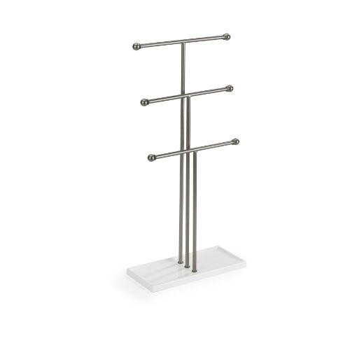 Umbra Trigem 3 Tier Jewellery Stand, White/Nickel