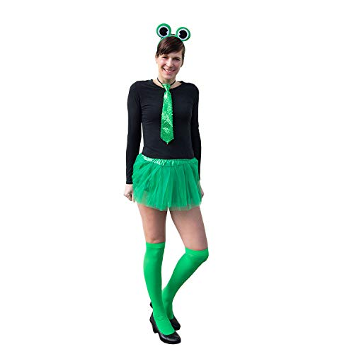 Oblique Unique® Sexy Frosch Kostüm Accessoire Set für Damen mit Frosch Augen Haarreif + Pailletten Krawatte + Overknee Strümpfe für Fasching Karneval Motto Party - Sexy Frosch Kostüm