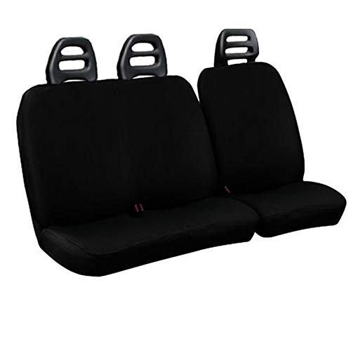 Lupex Shop CB N Seat Covers for Van, 3 Seat belt Black Cotton Low Compatible for Fiat ducado year 2000