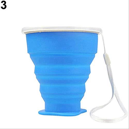 KOUAJ Wasserbecher Tragbare Silikon Folding Wasser Tee Tasse Becher Im Freien Multifunktions Faltbare Tasse für Reisen Camping Blau -
