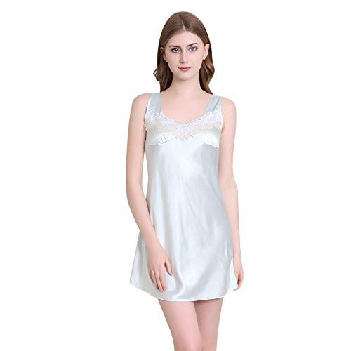 Yvelands Damen Nachtwäsche Sleeveless Printed Pyjamas,Dessous Frauen gedruckt Robe Kleid Babydoll Nachthemd Nachtwäsche Kimono Kleid(2XL,Blau)