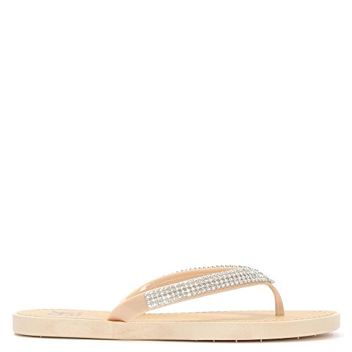 DF By Daniel Tournesol Crystal Nue Toe Post Flip Flop Nude Patent